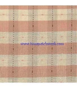Tela Japonesa tramada 1180 Lineas cuadradas crema rosada