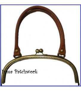 Boquilla bolso oro viejo asa cuero 24 x 10 cm