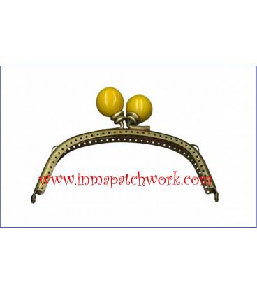 Boquilla monedero oro viejo con perlas 12.5 x 5.5 cm bola amarilla