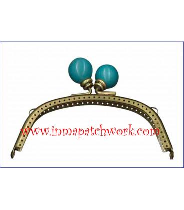 Boquilla monedero oro viejo con perlas 12.5 x 5.5 cm bola Azul