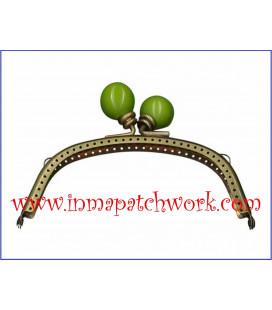 Boquilla monedero oro viejo con perlas 12.5 x 5.5 cm bola Verde