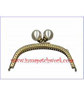 Boquilla monedero oro viejo con perlas 12.5 x 5.5 cm bola Perla