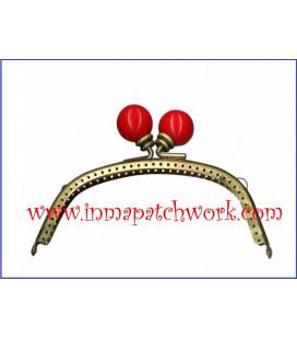 Boquilla monedero oro viejo con perlas 12.5 x 5.5 cm bola Roja