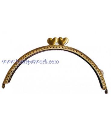 Boquilla monedero oro viejo corazones 15 x 6.5cm C9028