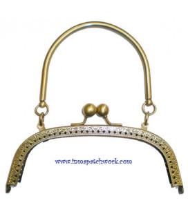 Boquilla bolso oro viejo asa metalica curva 16 x 6.5 cmC9032